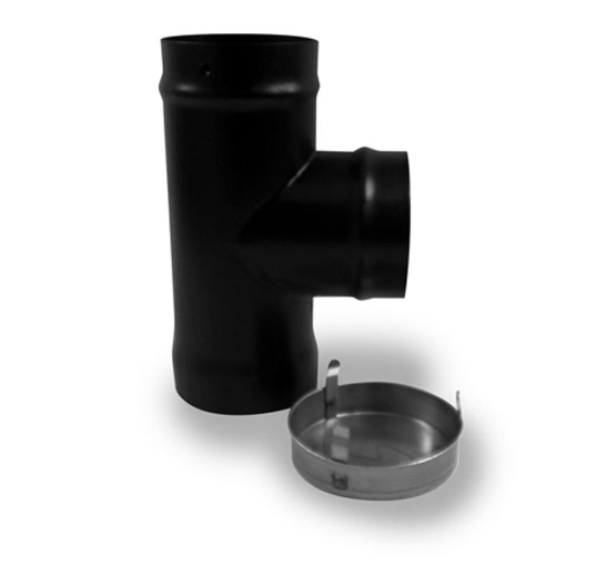 "90 Degree Elbow Tee Piece with Cap Flue Pipe - 6"" - tee cap 6"""