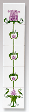 Agnews Tulip Ivory/Lilac Fireplace Tiles - Tulip Ivory/Lilac