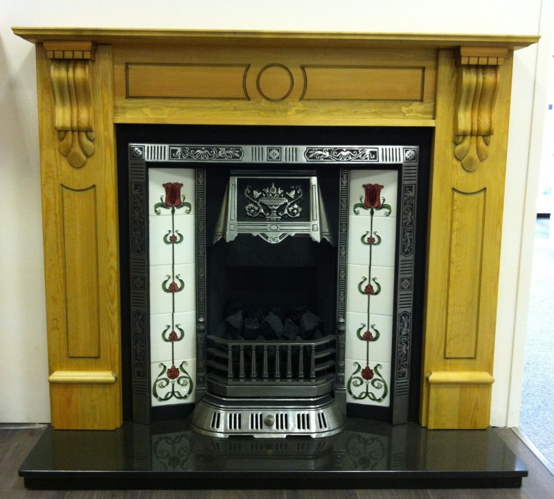 Corbel Pine Balmoral Cast fireplace complete with Gas Fire - Balmoral Package
