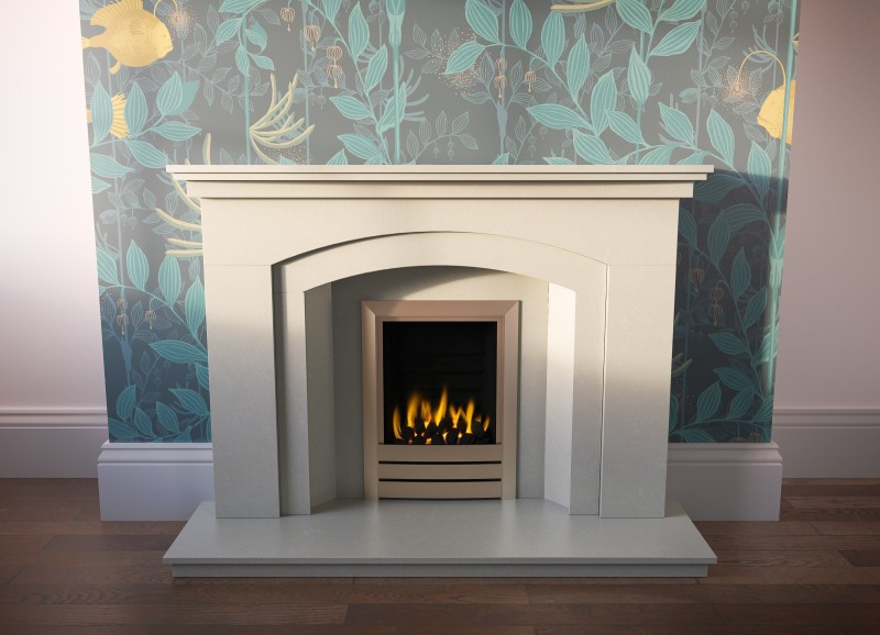 Pudsey Merrydale Arch Splayed Marble Fireplace Suite - Merrydale Arch Stone or Marble