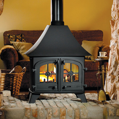 Yeoman Devon Double Sided Wood, Multi-fuel Stove Low Canopy - Yeoman Devon DS LC Double