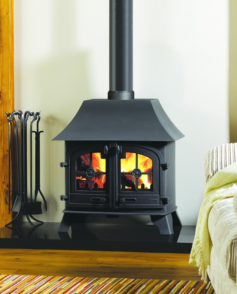 Yeoman County Double Sided Wood, Multi-fuel Stove Low Canopy - Yeoman County DS LC