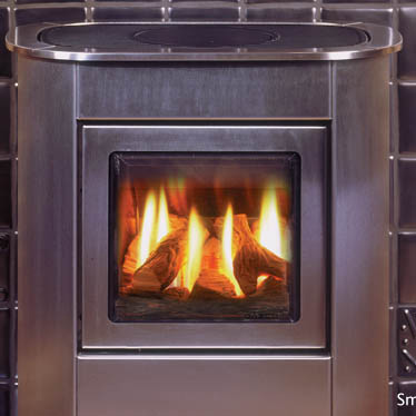 Gazco Steel Manhattan Small Gas Stove Balanced Flue - Gazco Steel Manhattan Small Gas