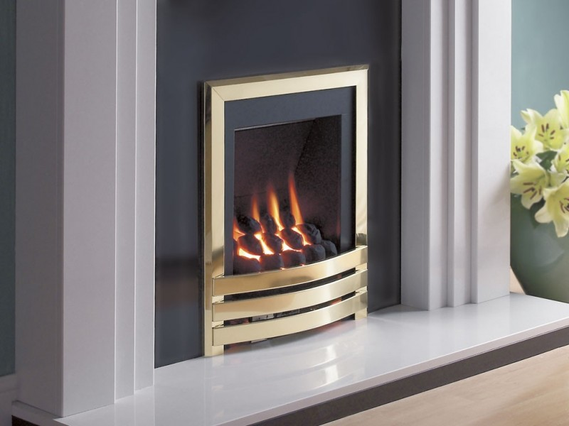 Flavel Windsor Pebble Contemporary Brass MC Gas Fire - Windsor Brass MC